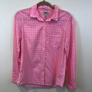 J. Crew Boy Shirt in Neon Pink Gingham, Size 6